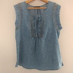 Signature Studio Sleeveless Blouse Tie Denim Blue